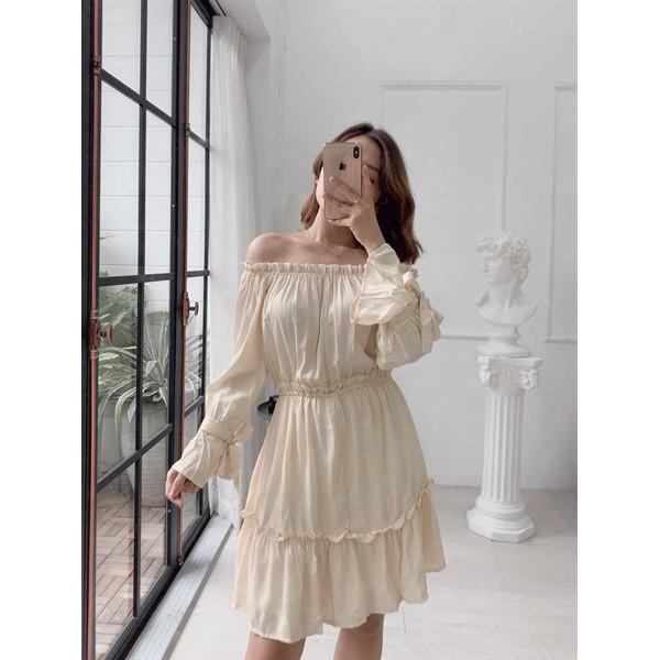 Đầm bẹt vai linen