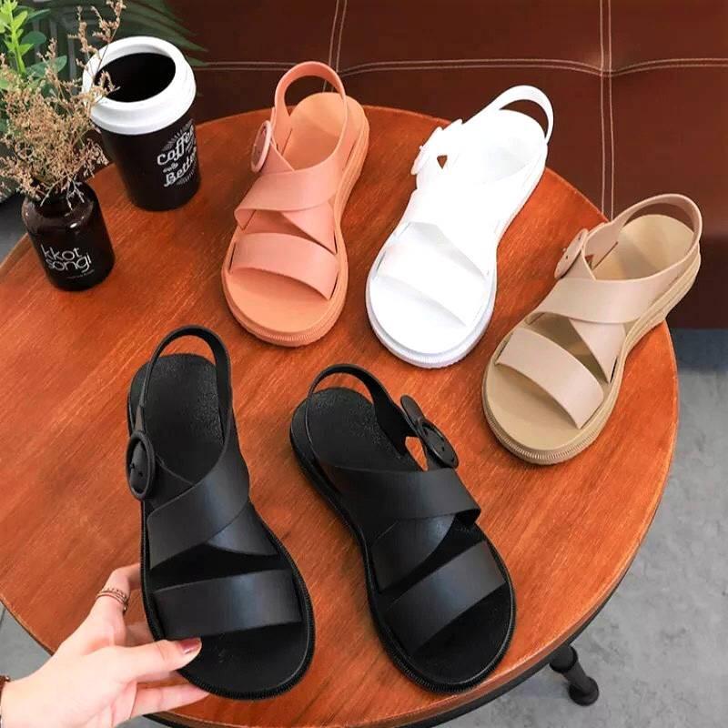 Giày Sandal Nữ Nhựa Dẻo Đi Mưa Hapu (Đen, Hồng, Kem) - GL008
