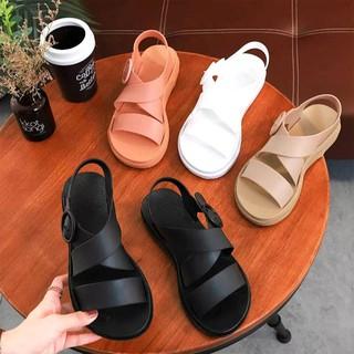 Giày Sandal Nữ, Nhựa Dẻo Đi Mưa Hapu (Đen, Hồng, Kem) - GL008