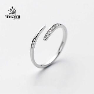 [Mã FASHIONMALLT4 giảm tới 30K đơn 150K] Nhẫn Bạc Nữ Dáng Hở Đính Đá - Minh Canh Jewelry thumbnail