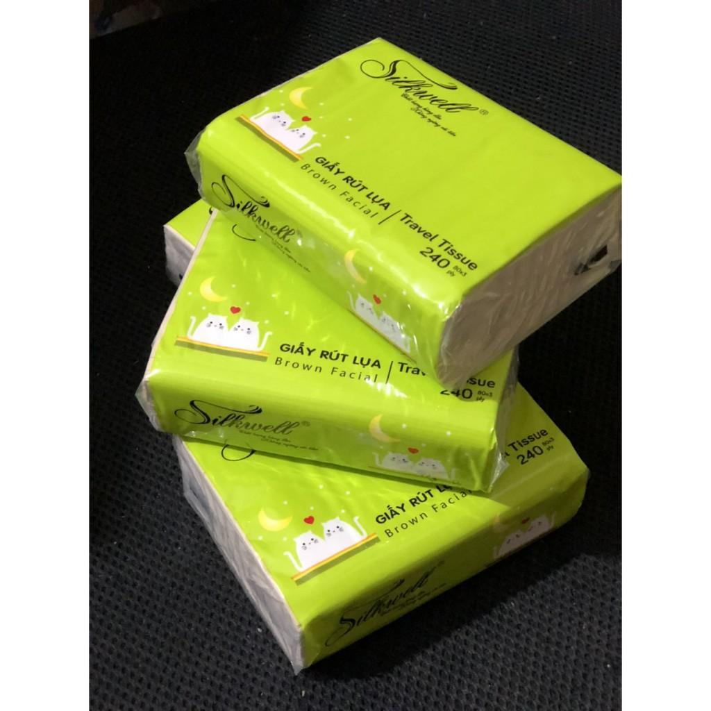 Combo 2 gói khăn giấy bỏ túi 240 tờ Silkwell tiện lợi (hàng 3 lớp)