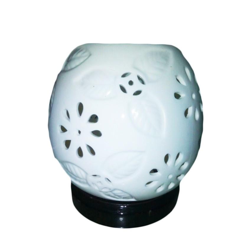 Đèn Xông Tinh Dầu Kiêm Đèn Ngủ Bằng Gốm Hoa Mai TN35 (trắng)