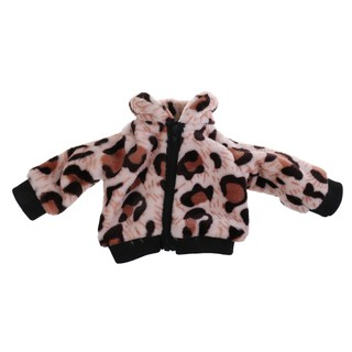 "Trendy Plush Leopard Zippered Top Coat for 18"" American Doll Dress Up"