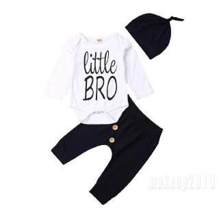Mu♫-Newborn Baby Boys Long Sleeve Little Bro Print Romper Bodysuit+Button Down Pants+Hat 3Pcs Clothes Set