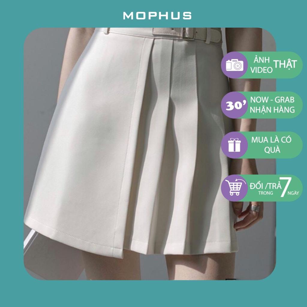 Chân váy đen trắng xếp ly ngắn nữ eo cao hè phong cách tennis ôm dáng chữ a Mophus MV012