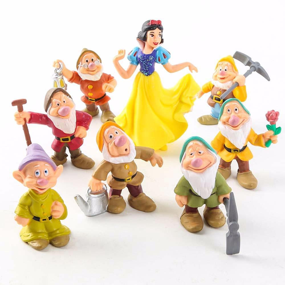Mini 8-in-1 Snow White And The Seven Dwarfs Figures, Disney Cartoon Snow White