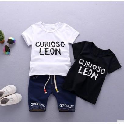 Bộ đồ cho bé in chữ chất cotton quần lửng chun dáng thể thao