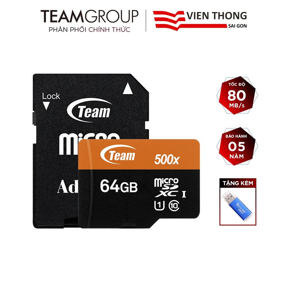 Thẻ nhớ microSDXC Team 64GB 500x upto 80MB/s C10 UHS-I kèm Adapter (Cam) tặng đầu đọc thẻ