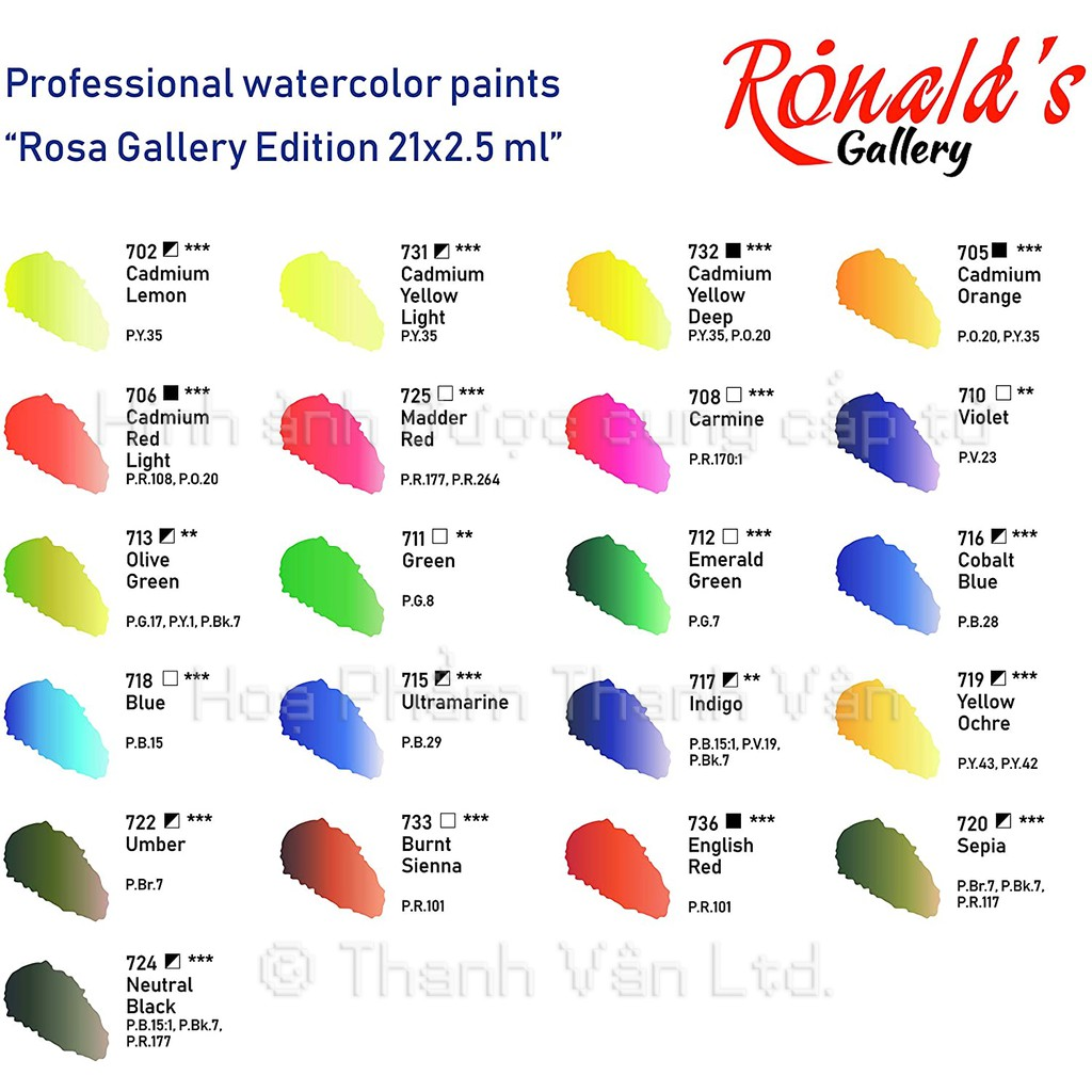 Màu Nước Rosa Gallery 14/21/24 Màu (Made in Ukraine)
