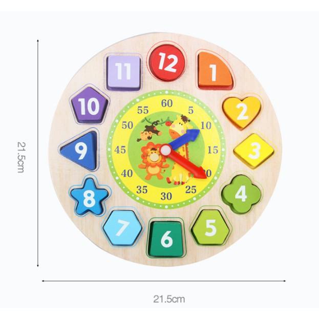 Đồ Chơi Đồng Hồ Gỗ Xâu Hạt Có Chữ Và Số Loại Đẹp 21.5*21.5cm