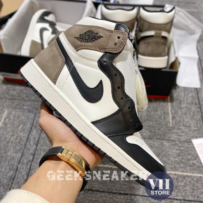 Giày Sneaker Air Jordan Cao Cổ, Giày JD1 Gót Nâu Cao Cổ Nam Nữ Full Box Bill