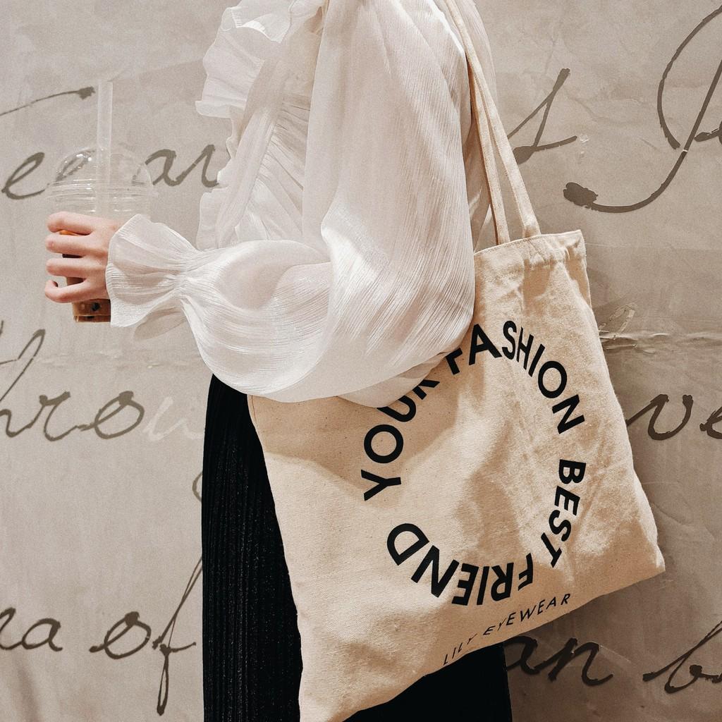 Túi xách nữ Tote vải canvas Lilyeyewear màu trắng ngà chất liệu dày dặn không xù lông có thể vẽ lên túi