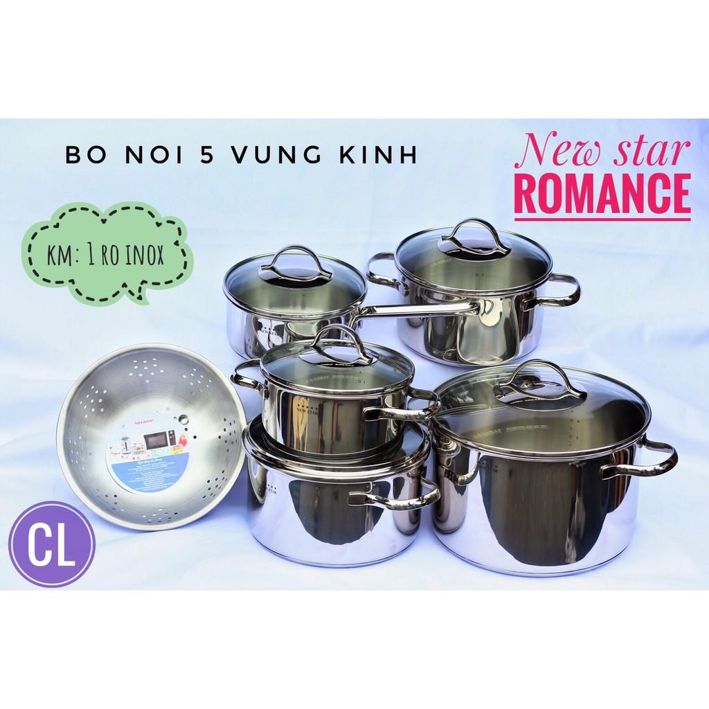 BỘ NỒI 5 CHIẾC 3 ĐÁY NEWSTAR ROMANCE -INOX 304(TẶNG KÈM 1 RỔ INOX)