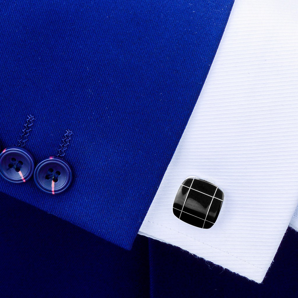 1 Pair Bussiness Wedding Decorative Men's Suit Shirt Black Agate Cufflinks