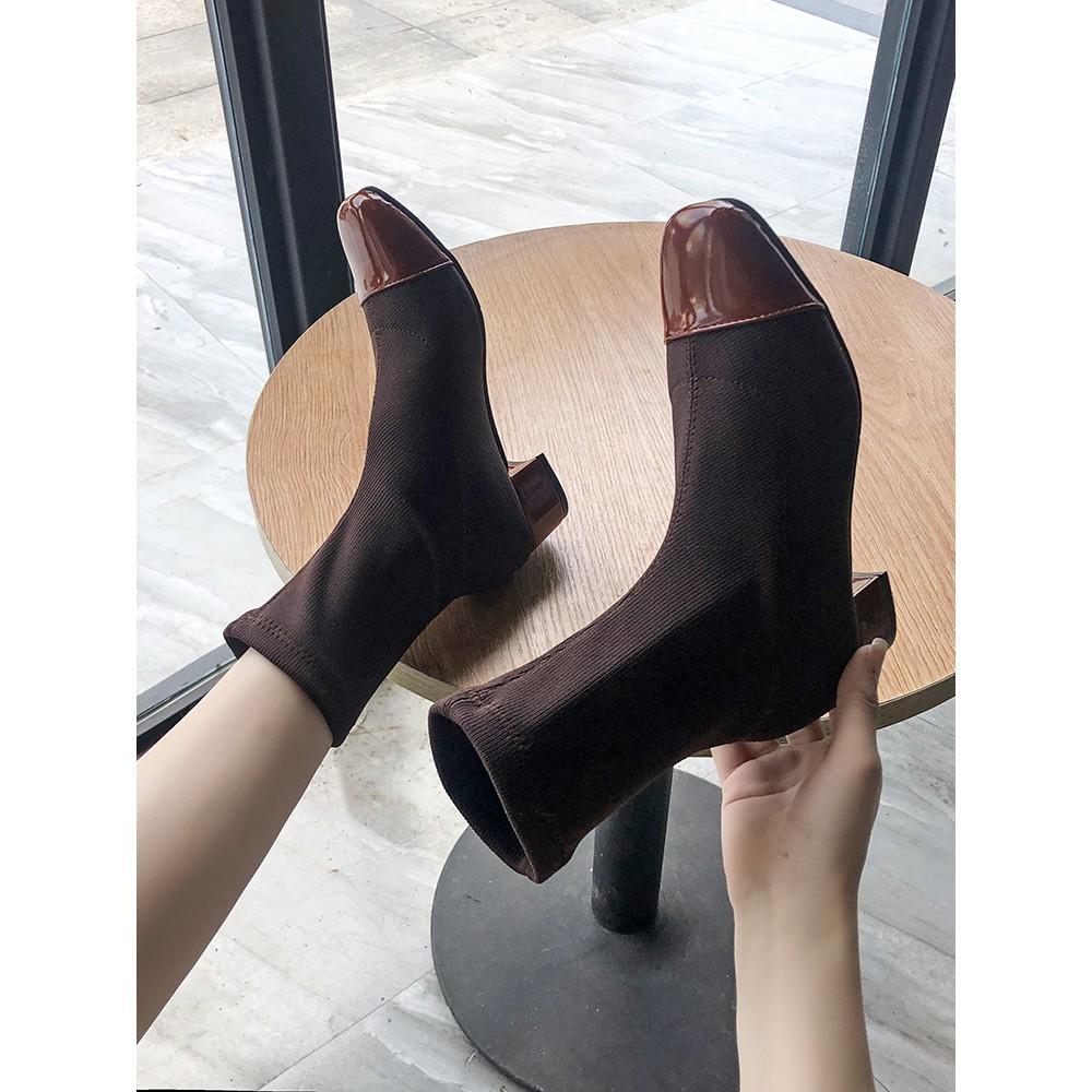 【จัดส่งฟรี】ใบไม้ร่วงรองเท้าเดียวแฟชั่นเกาหลีหนากับป่า ins สุทธิสีแดงรองเท้าผอมบาง