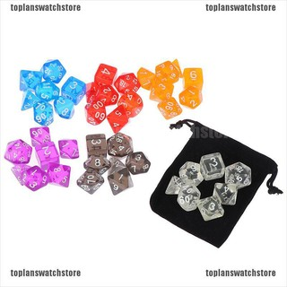 【COD•tope】Colour 7 piece polyhedral set cloud drop translucent teal rpg dnd wi