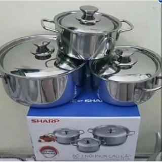 Bộ 3 nồi inox dùng được bếp từ thương hiệu sharp - 3412910 , 813082436 , 322_813082436 , 500000 , Bo-3-noi-inox-dung-duoc-bep-tu-thuong-hieu-sharp-322_813082436 , shopee.vn , Bộ 3 nồi inox dùng được bếp từ thương hiệu sharp