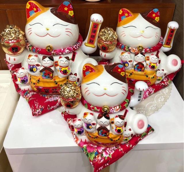 Mèo thần tài Thiên kim vạn lượng may mắn 20cm- 26cm -30cm (có3 size)