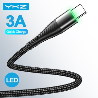 Cáp Sạc Nhanh YKZ Đầu Cắm USB Type-C Có Đèn LED 3A Dành Cho Điện Thoại Samsung Xiaomi