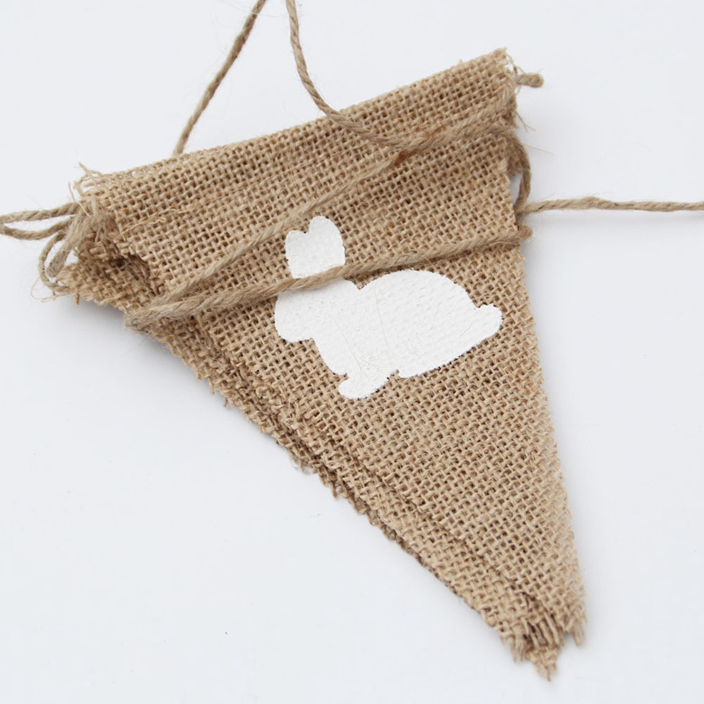 Rabbit Printed Holiday Happy Easter DIY Handmade Party Hanging Decoration Burlap Banner