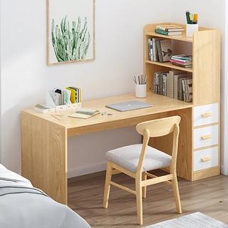Bàn làm việc gỗ có ngăn để đồ, Bàn học kèm giá sách đẹp hiện đại / BAH008