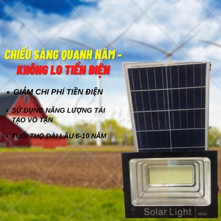 Đèn Pha Năng Lượng Mặt trời 200W Loại Tốt 400 Bóng Led Siêu Sáng Khung Nhôm Sơn Tĩnh Điện Hiện Thị Báo Pin