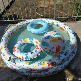 Bể bơi tròn 3 Tầng kèm bóng và phao cho bé