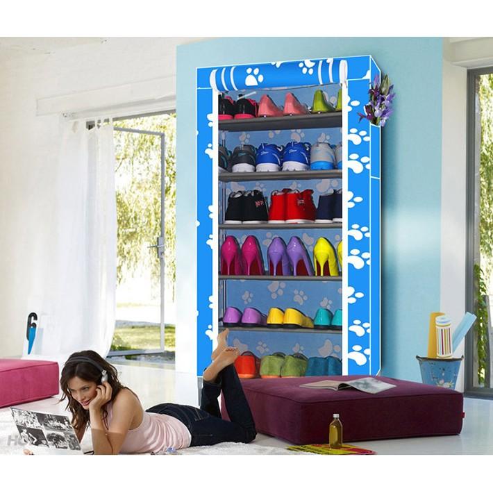 Tủ giày hình hoa đa năng 6 tầng (xanh) VRG00798368