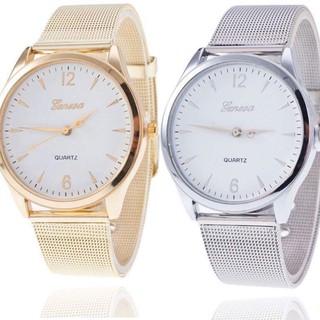 Đồng hồ thời trang nam nữ Geneva dây lưới vàng và bạc s1