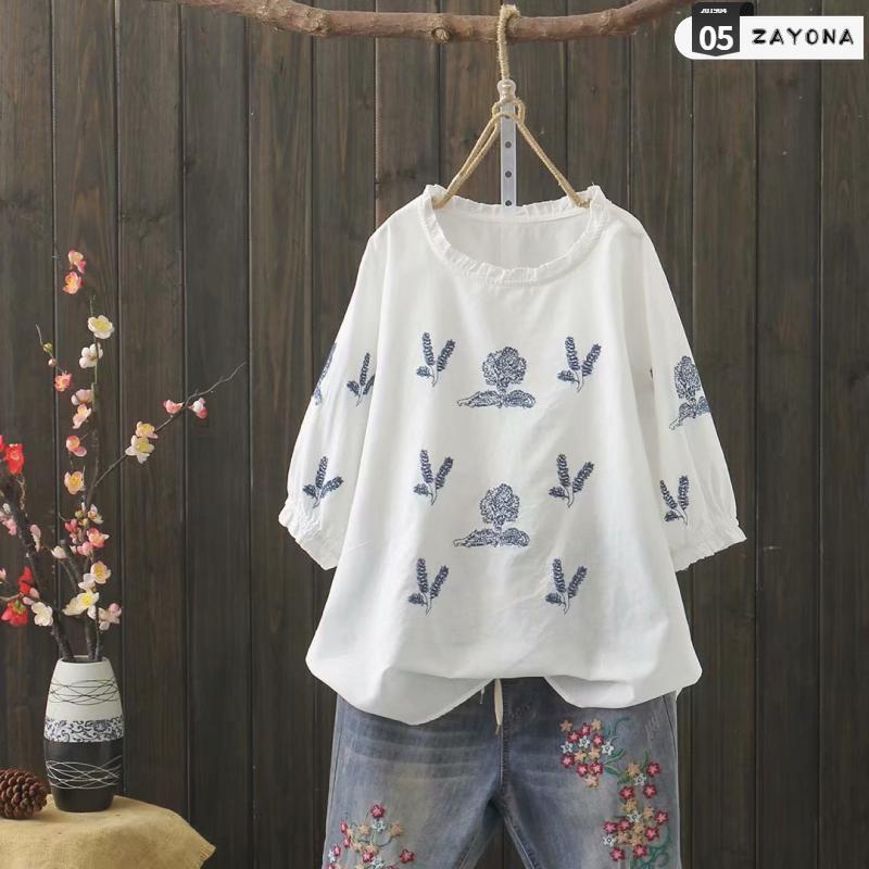 2019 về sự bùng nổ mới của fan hâm mộ văn học thêu bông và vải lanh Áo thun nữ mùa xuân trang phục năm điểm tay áo bằng