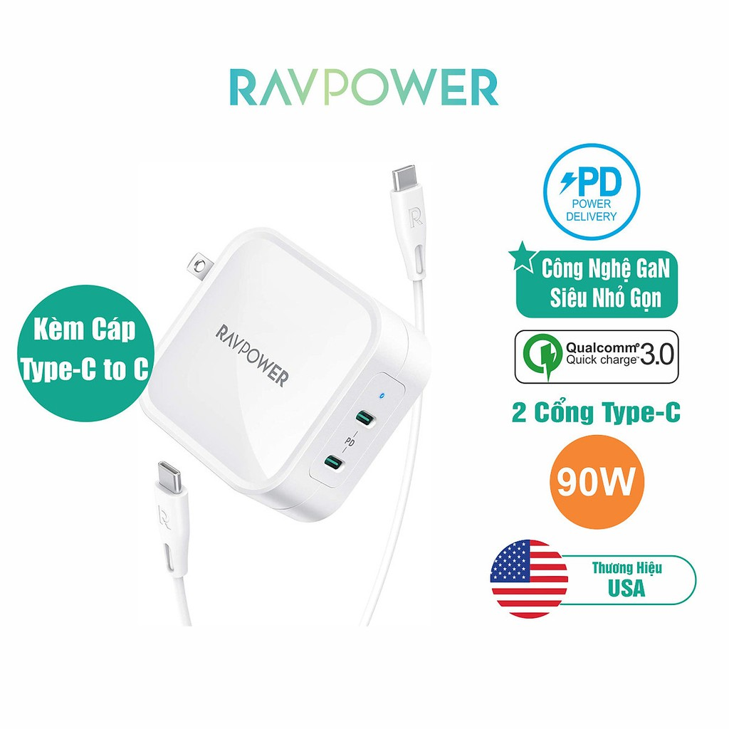 Củ Sạc RAVPower RP-PC128 PD 90W Công Nghệ GaN 2 Cổng Type-C Sạc Macbook, Smartphone, Tablet, Laptop - Hàng Chính Hãng