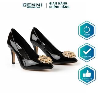 Giày cao gót đính đá tròn 7p GE440 - Genni