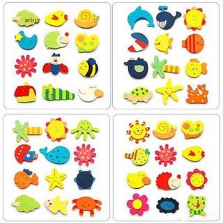 ♞12 Pcs Cute Cartoon Pattern Wood Fridge Magnet Stickers Kids Educational Toy