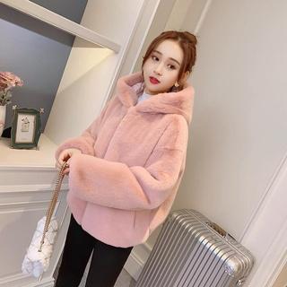 Fur coat women's new autumn and winter wear thickened hooded imitation rabbit mink Plush loose short coat women
