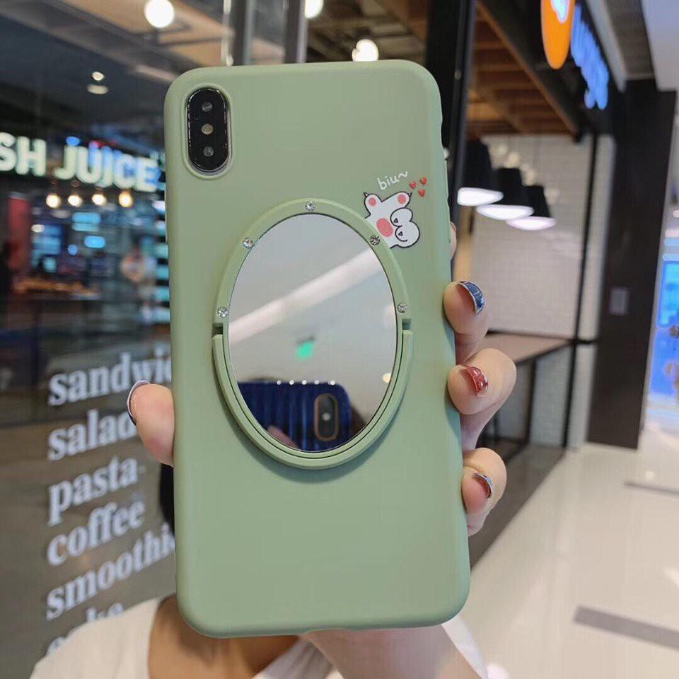 Ốp lưng kèm gương soi cho iphone (Gương bằng kim loại giả kính)