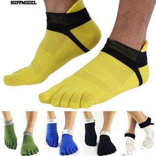 🧦1 Pair Men's Cotton Blended Sports Five Finger Toe Socks Patchwork Mesh Socks