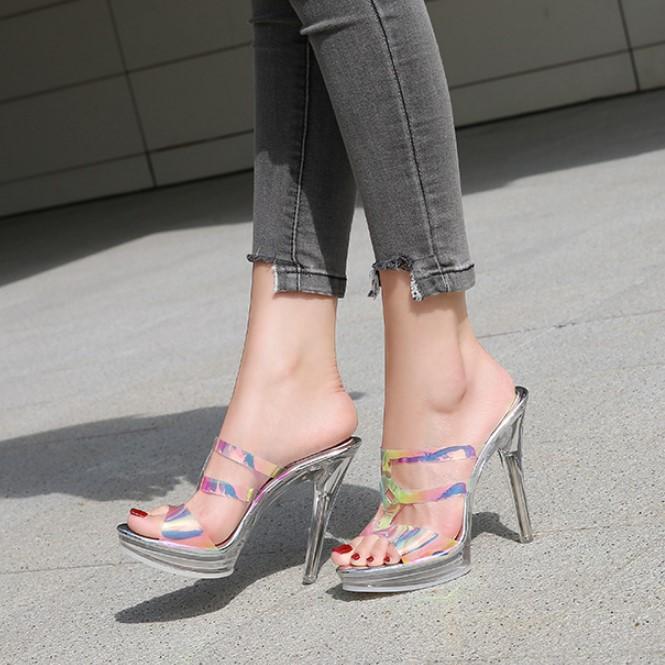 Giày Cao Gót 12cm 12cm Hở Mũi Chống Thấm Nước Quyến Rũ Cho Nữ
