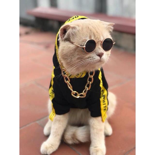 Áo cotton 2 chân viền chữ phong cách Hiphop dành cho chó mèo