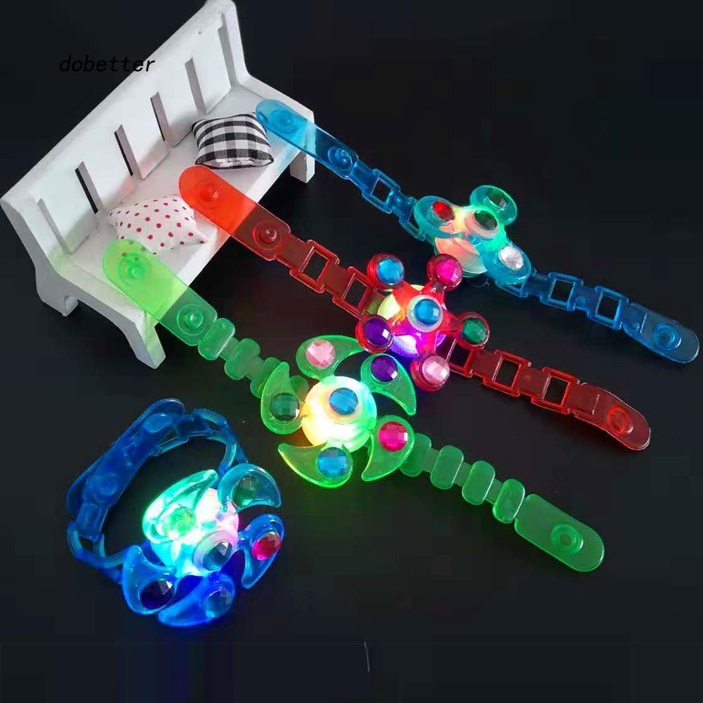 DOBT_1Pc LED Flashing Multi Color Rotating Flower Finger Ring Bracelet Wrist Band