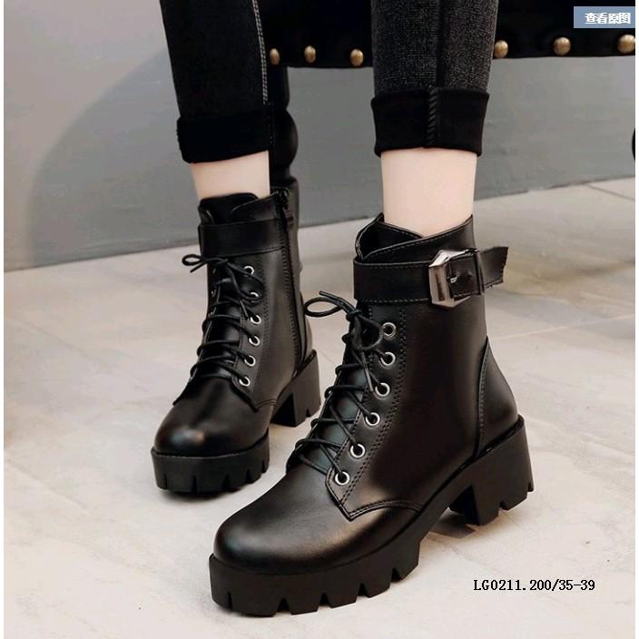 [HÀNG CÓ SẴN] Giày nữ boot nữ phong cách châu âu giày da PU23 cổ cao dây buộc có khuy đế chiến binh chất nhất