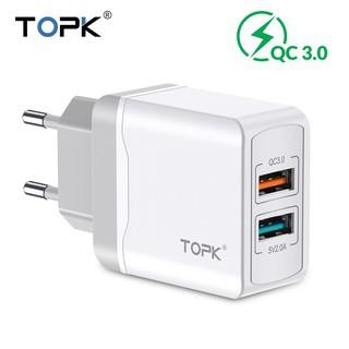 Củ Sạc TOPK B244Q Chia Hai Cổng Kết Nối USB Sạc Nhanh 28W QC 3.0 Đầu Cắm EU Chống Cháy Nổ