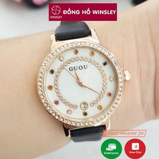Đồng hồ nữ Guou chính hãng dây da đeo tay đẹp đá 7 màu có lịch sang trọng chống nước thumbnail