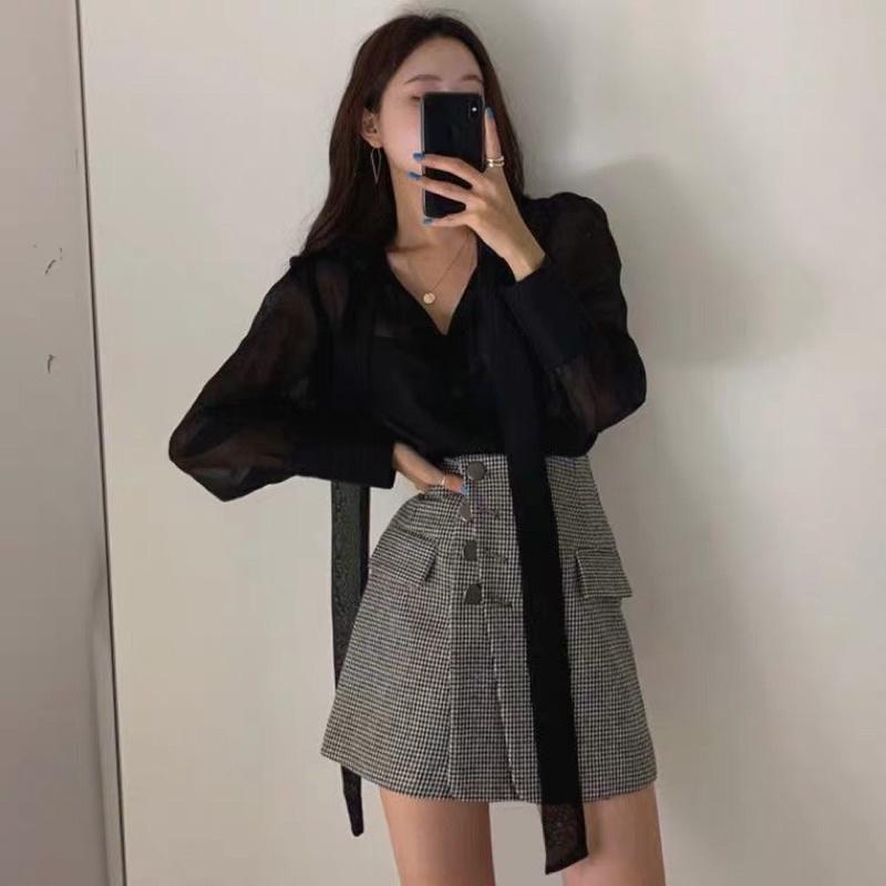 Mặc gì đẹp: Xinh tươi với (R2691) set ulzzang Hàn quốc áo sơ mi dịu mát và chân váy công sở S M L