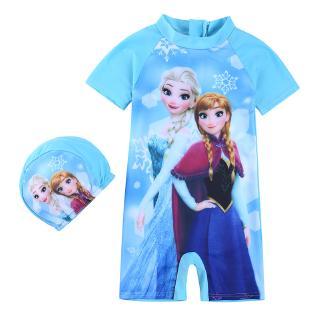 Girl Cartoon Frozen Short Sleeve One-Piece Swimsuit 1-7 Years Little Kids Girls Summer Beach Swimwear