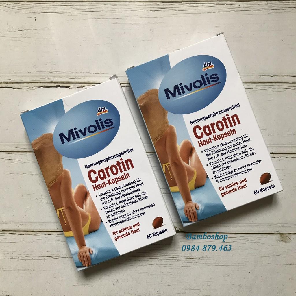Viên chống nắng Mivolis Carotin 60v, giúp bảo vệ làn da khỏi ánh nắng từ trong ra ngoài, giữ làn da luôn trắng sáng.