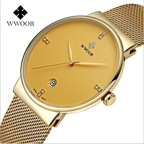 Đồng hồ nam dây lưới thép WWOOR 8018