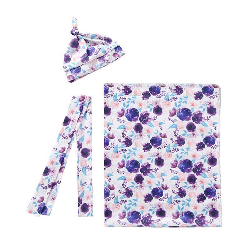 ohmg☆3 Pcs/set Summer Newborn Swaddle Blanket Headband Hat Thin