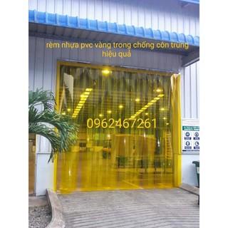 rèm nhựa pvc vàng trong chống côn trùng tiện ích, kích thước theo yêu cầu.