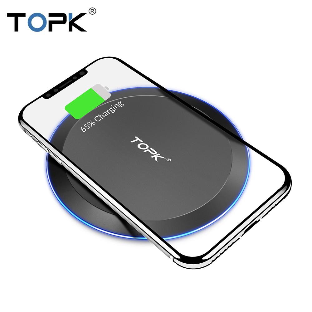 Đế Sạc Nhanh Không Dây TOPK B46W  Tiện Dụng Cho IPhone X / XS Max XR 8 Plus / Samsung