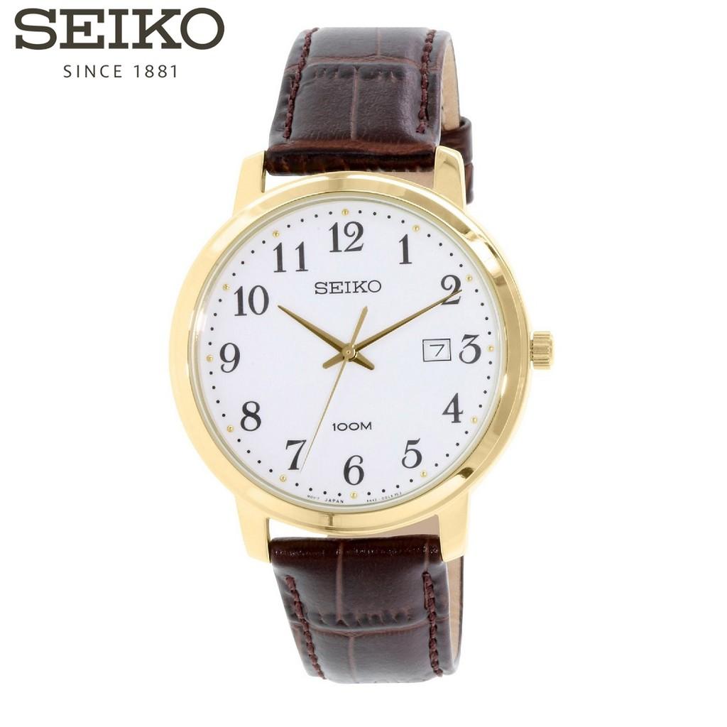 Đồng hồ nam Chính Hãng Seiko SUR114P1 - Dây Da - Mặt Số - 2 Kim Mạng Vàng - Bảo Hành